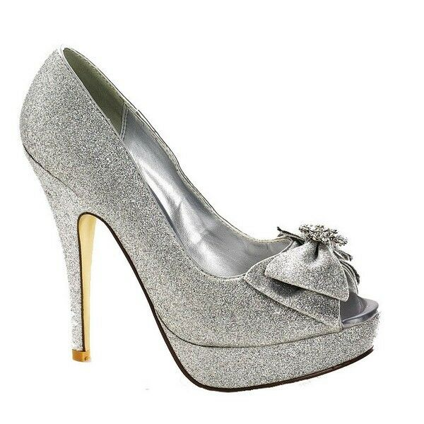 Ladies Silver Sparkle Bow Peep Toe Shoe Platform Glitter