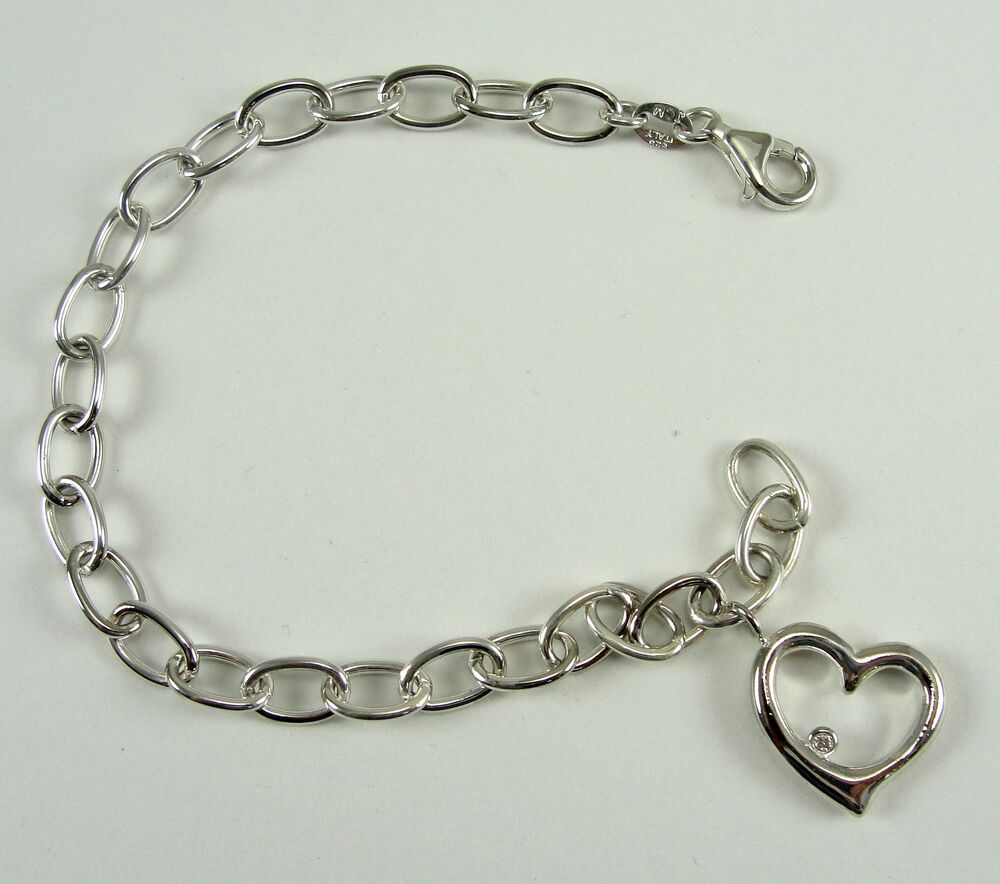 Bracelet With Hearts: Sterling Silver Bracelet Open Heart Charm Oval Link Chain
