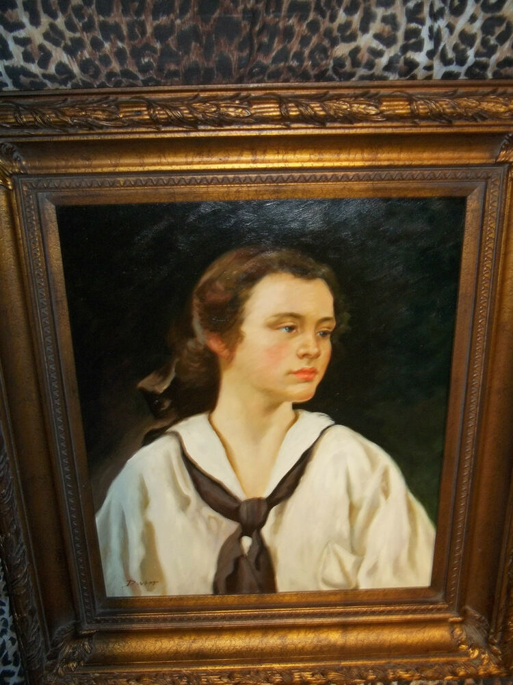School boy wood frame museum quality masters style for Framed reproduction oil paintings