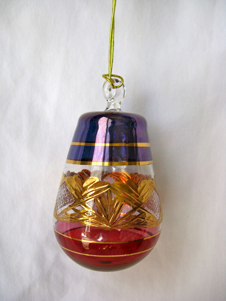 Decorative Ornaments For Living Room: Egyptian Handmade Gold Accent Glass Christmas Ornament 4