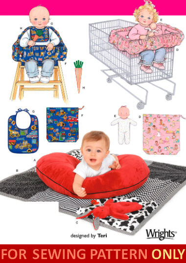Sewing pattern make baby accessories cart chair cover quilt pillow