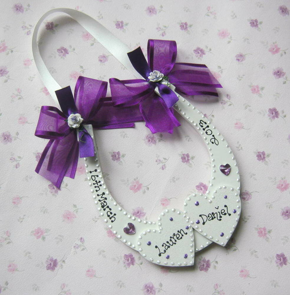 PERSONALISED WEDDING KEEPSAKE LUCKY HORSESHOE GIFT(2) THE BOLD COLOURS ...