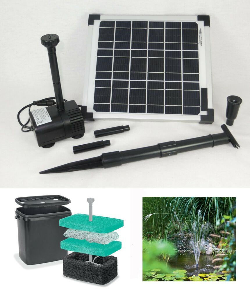 10 w solar teichpumpe filterbox filter solarpumpe pumpenset gartenpumpe pumpe ebay. Black Bedroom Furniture Sets. Home Design Ideas