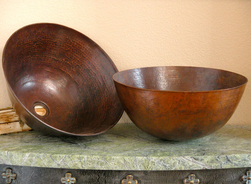 Bath Sinks-Round Mexican Copper Vessel Vanity Sink eBay