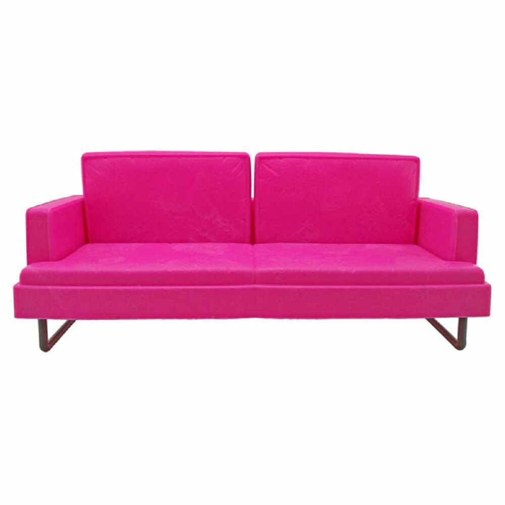 Plastic pink 2 seater sofa 1 6 blythe barbie doll 39 s house for Where to get furniture