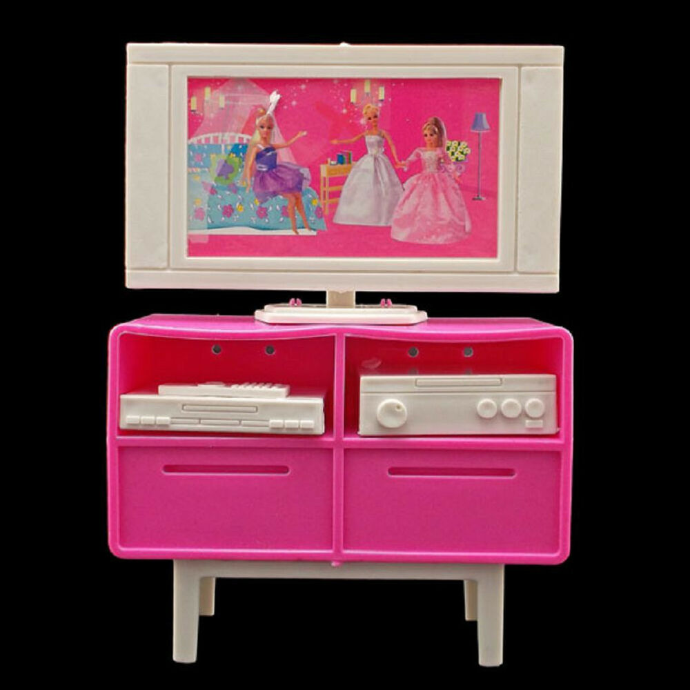 Plastic tv stand cabinet 1 6 for blythe barbie doll 39 s for Furniture house