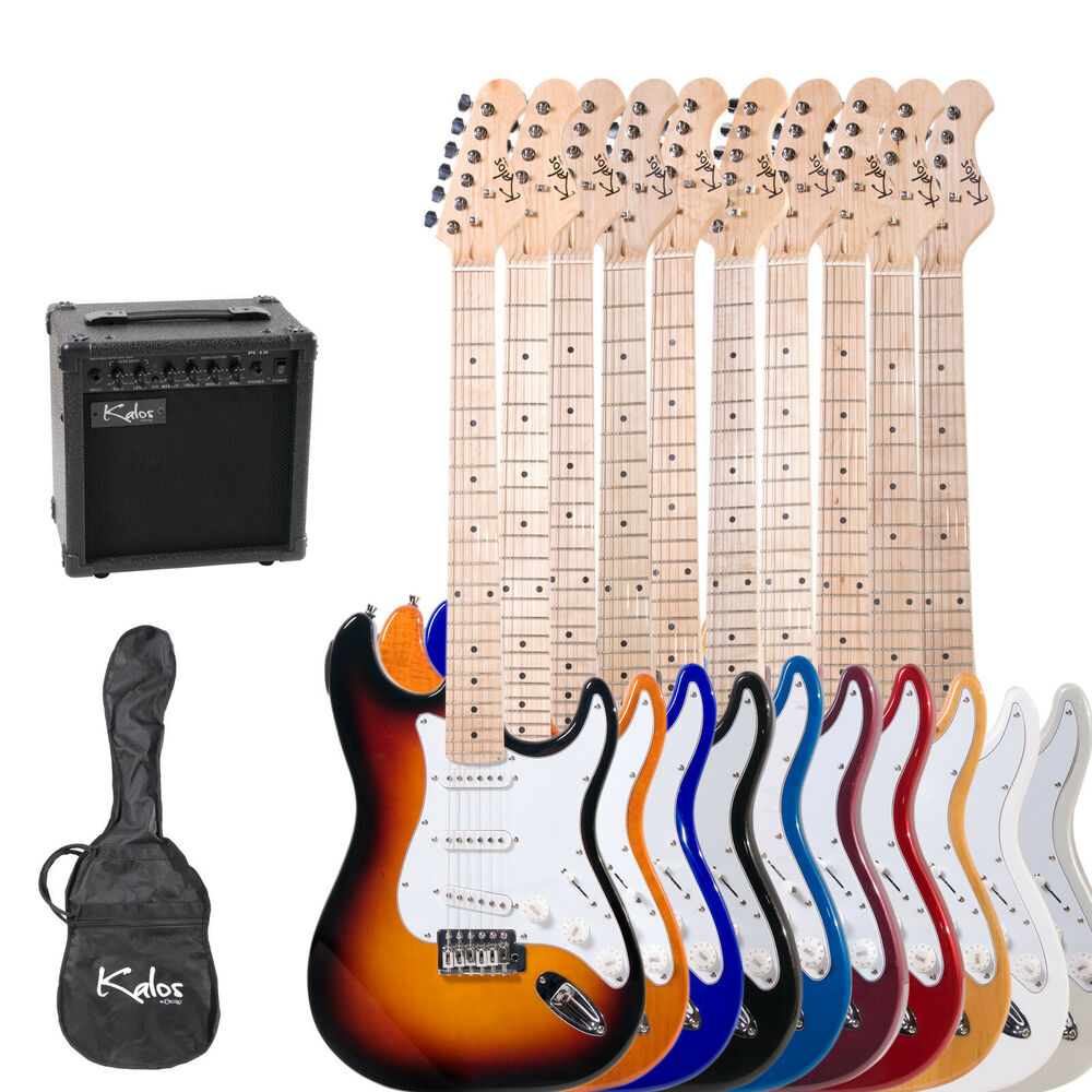 kalos 39 full size electric guitar pack w 15w amp 8 colors lesson book ebay. Black Bedroom Furniture Sets. Home Design Ideas