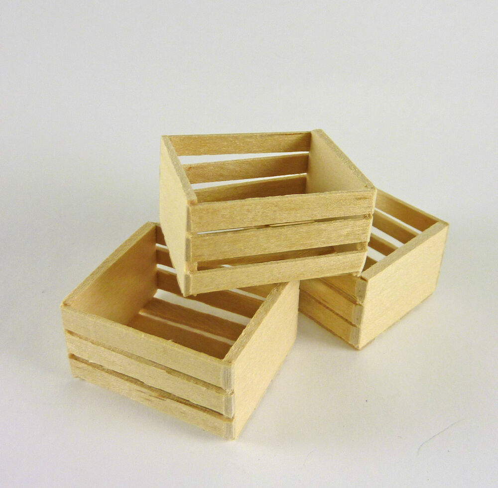 dollhouse miniature set of 3 wooden crates medium ebay