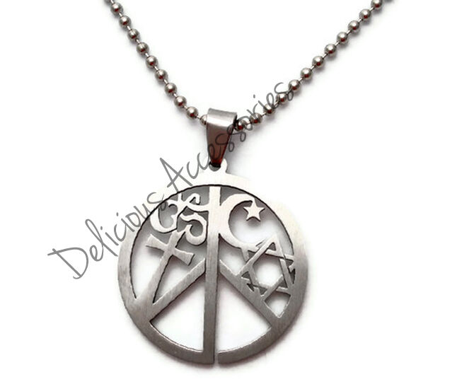 Coexist pendant necklace star of david cross ohm islamic for Star of david necklace mens jewelry