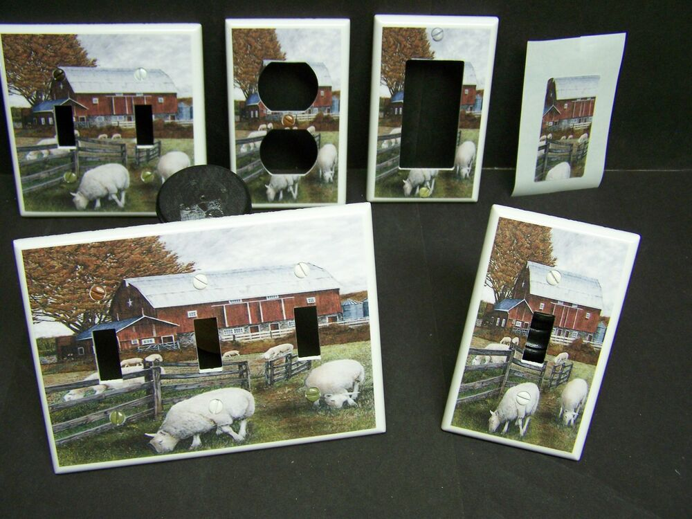 Country Farm Red Barn Lamb Lambs Sheep Light Switch Or