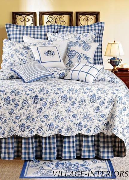 Sale Country House Blue Amp White Floral Toile Queen Quilt