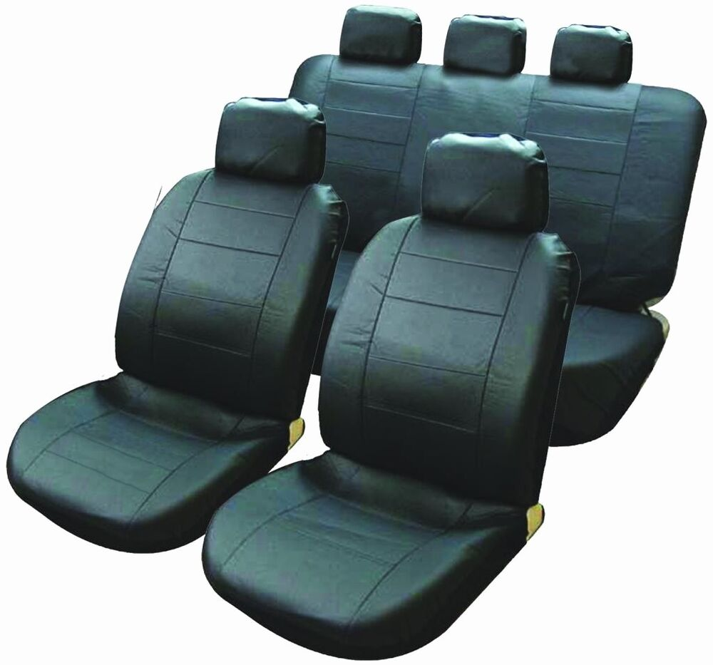 universal black car seat covers quilted leather look front rear head rest new ebay. Black Bedroom Furniture Sets. Home Design Ideas