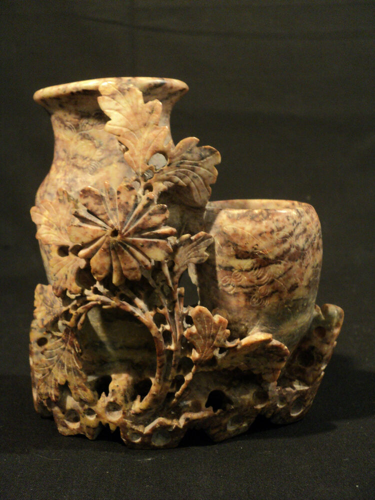 Beautiful 19th Century Chinese Carved Soapstone Vase With Double Urns Ebay