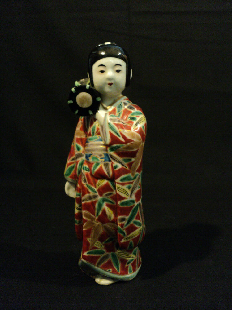 Antique hand enameled chinese porcelain quot figurine girl