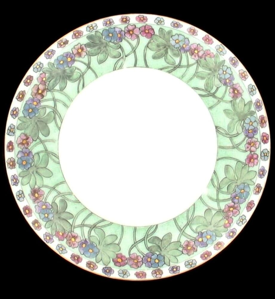 Antique bavaria 1911 floral green decorative wall plate for Decoration plater