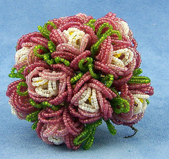 Vintage French Glass Beaded Pink & White Rosette Flower