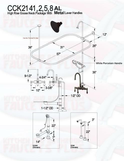 Oil Rubbed Bronze Clawfoot Tub Faucet Kit Standing