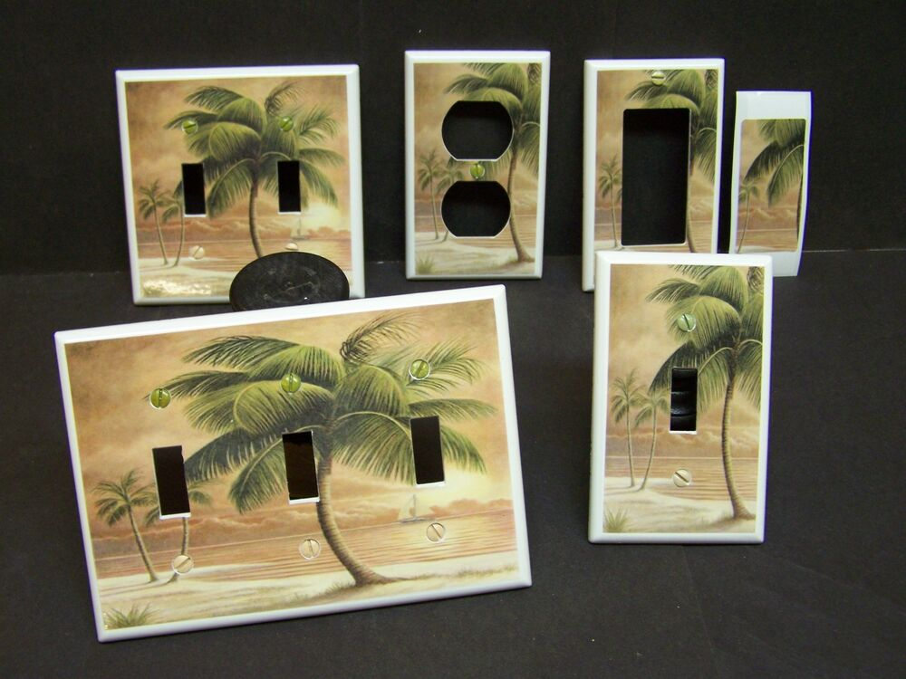 Tropical paridse beach palm tree 8 light switch cover plate or outlet cover ebay