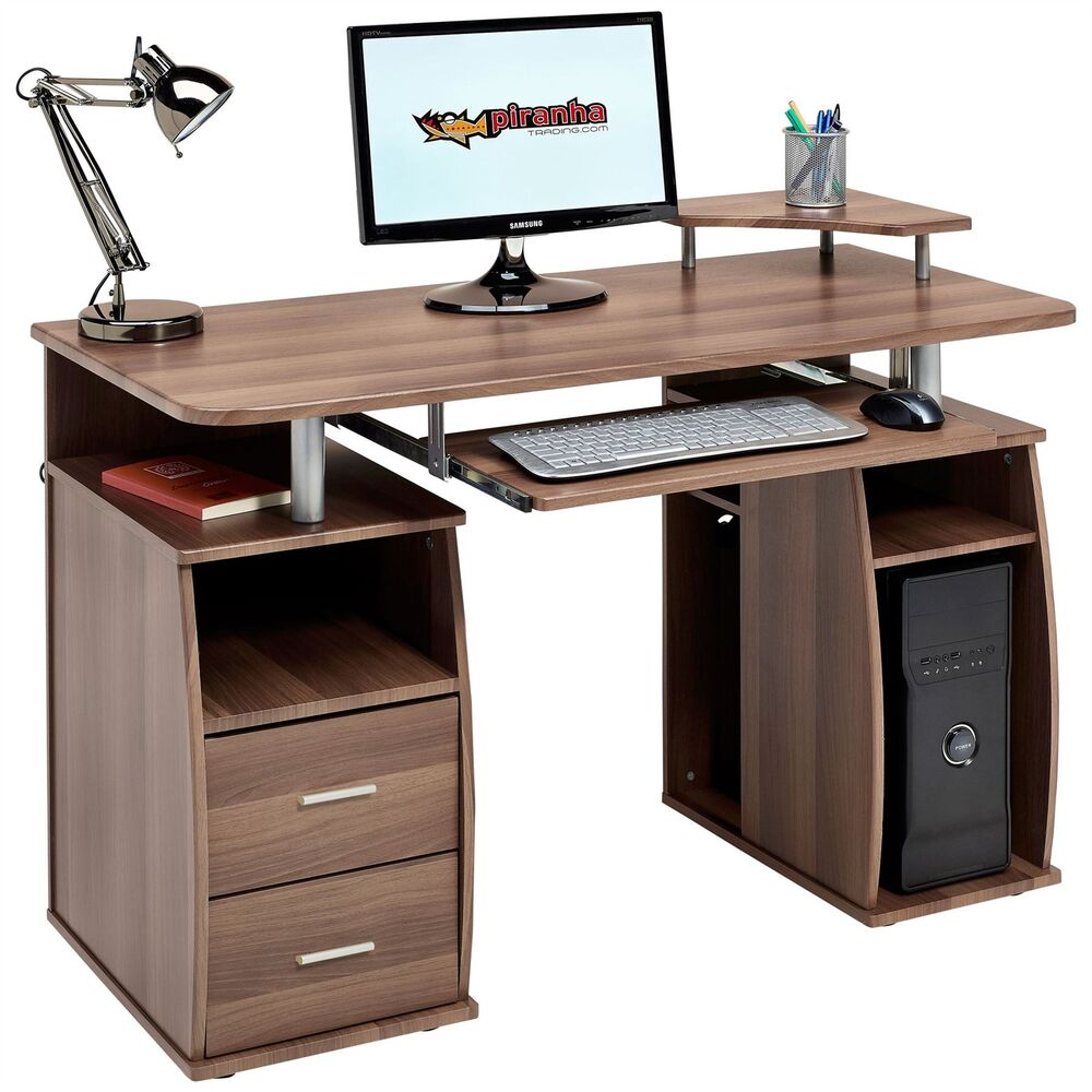 Computer Desk With Shelves Cupboard & Drawers Home Office