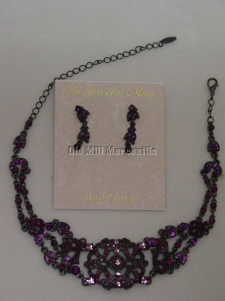 Vintage Antique Victorian Style Austrian Crystal Amethyst Choker Earrings Ebay