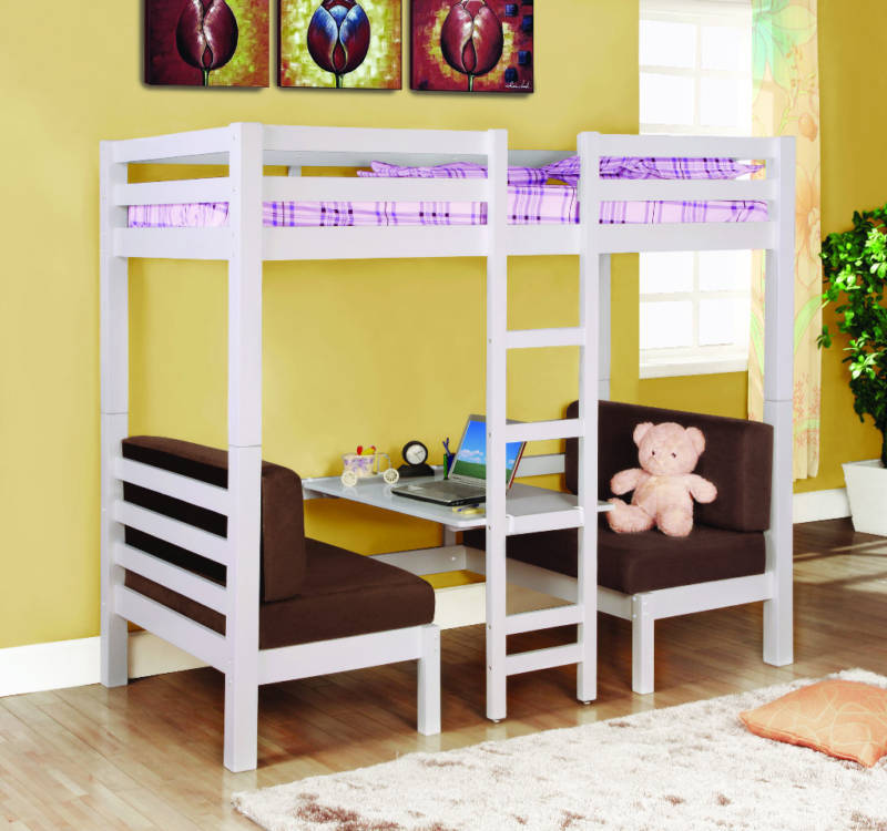 White twin loft bunk conversion bed with play area bedroom for Furniture 123 bunk beds