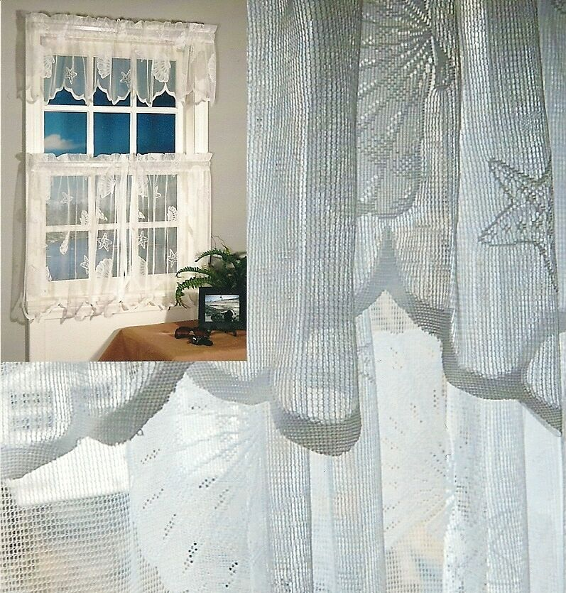 Seashells lace valance swag panel 63 84 and shower - Swag valances for bathroom windows ...