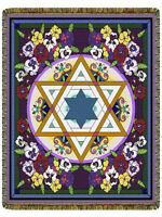 68x48 STAR OF DAVID Religious Floral Tapestry Afghan Throw Blanket