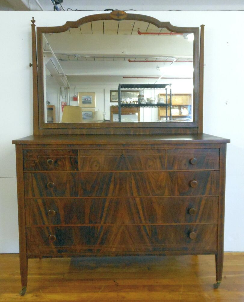 Antique federal style flame mahogany dresser w mirror for Bureau with mirror