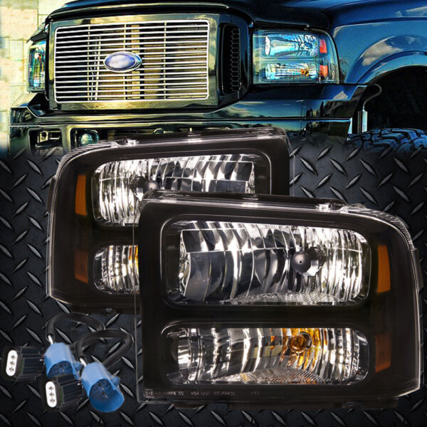 Headlights Black 00 01 02 03 Fits 99-04 Ford Superduty Excursion Conversion 07