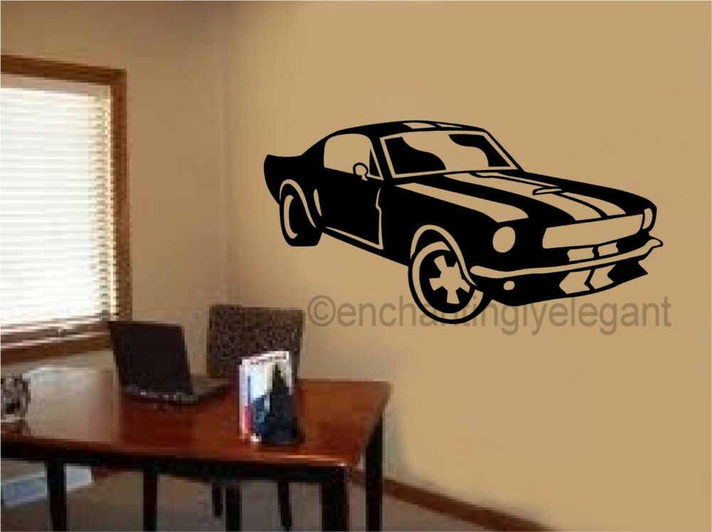 Mustang shelby car vinyl decal wall sticker office shop for Boys room wall mural