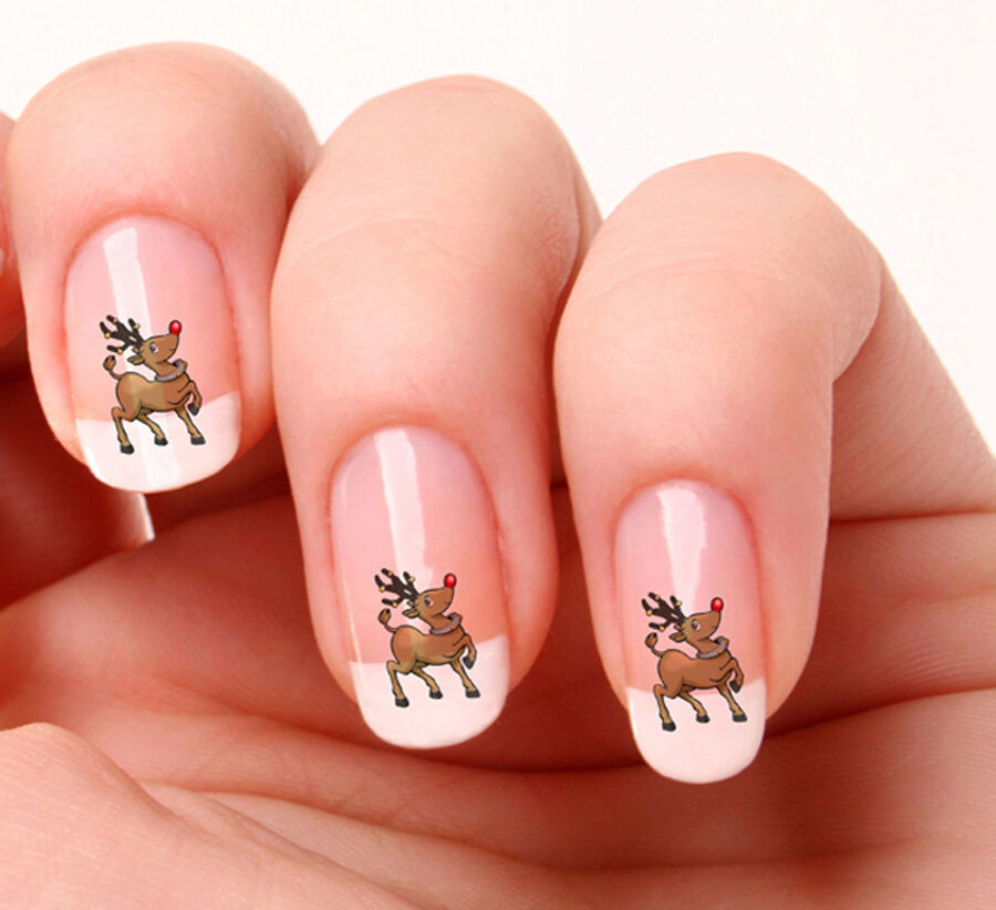 Reindeer Nail Art: 20 Nail Art Decals Transfers Stickers #03