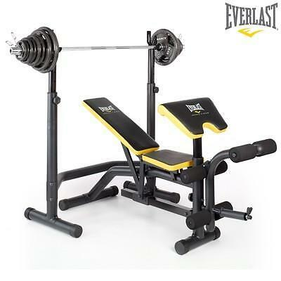 Everlast Olympic Weight Bench Squat Rack With 100kg Olympic Weight Set Ebay