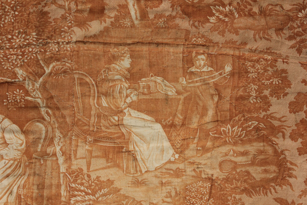 ... early 19th century quilted curtain / drape amber toile Nantes ? | eBay