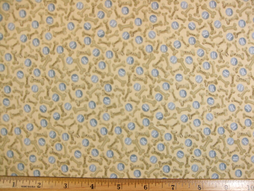 Dog bones balls print cotton fabric by the yard bty ebay for Cotton fabric by the yard