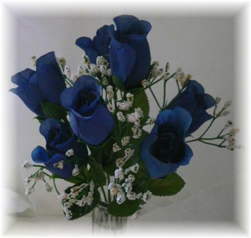 84 DARK BLUE Silk Roses Bud Wedding Bouquet Flower ...