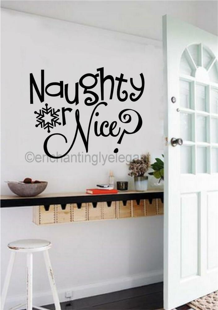 Word Wall Art Vinyl Lettering Home Decor ~ Naughty or nice christmas decor vinyl decal wall sticker