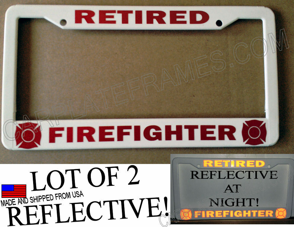 Lot Of 2 Reflective Retired Firefighter Fire Fighter Red