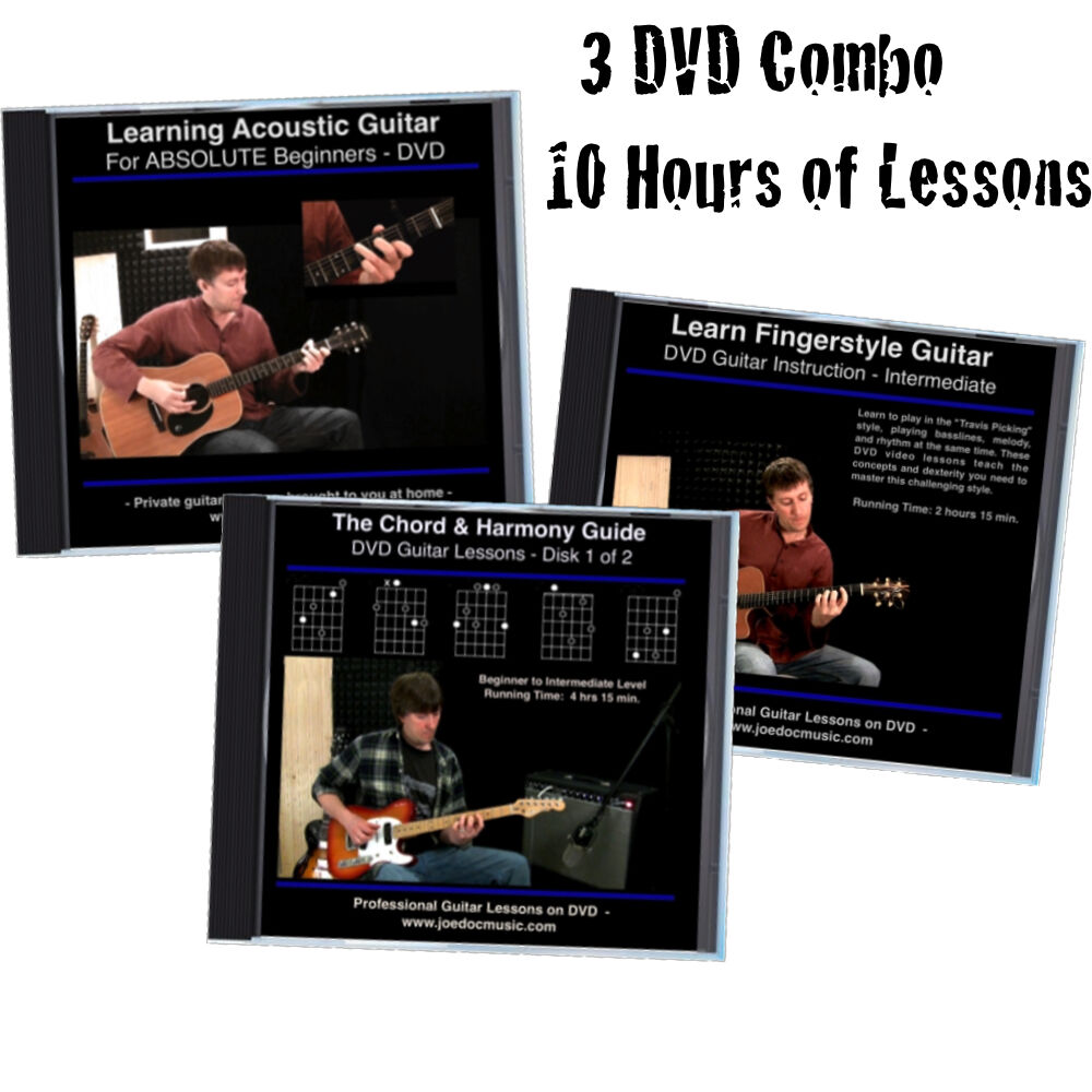 learn how to play guitar 3 dvd set perfect holiday gift for beginners ebay. Black Bedroom Furniture Sets. Home Design Ideas