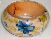 "Chunky & Thick Vintage Flowers Lucite Bangle 1 5/8"" Wide Statement Bracelet"