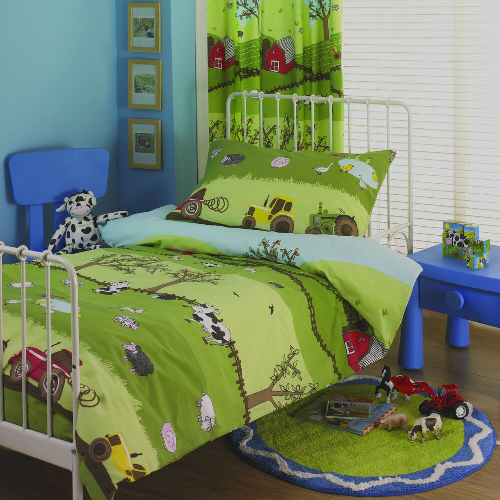 childrens bedroom sets farm yard boys tractor duvet set or curtains children s 11105