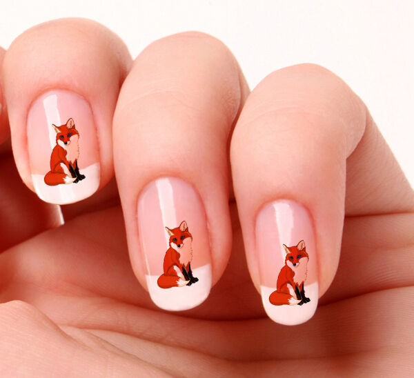 Fox Nail Designs: 20 Nail Art Decals Transfers Stickers #348