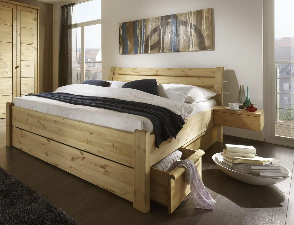 doppelbett mit schubladen 200x200 funktions bett kiefer massiv holz gelaugt l ebay. Black Bedroom Furniture Sets. Home Design Ideas