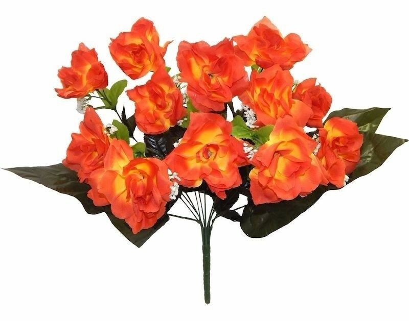 How Long Should Bridal Bouquet Stems Be : Orange open roses long stem silk wedding bouquet