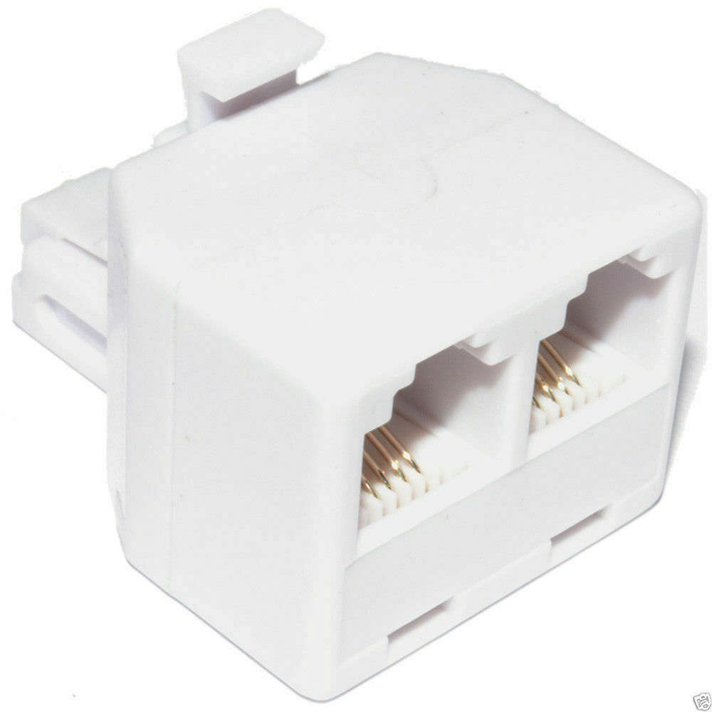 rj11 4 wire 2 way adapter dual rj11 sockets to rj11 plug. Black Bedroom Furniture Sets. Home Design Ideas