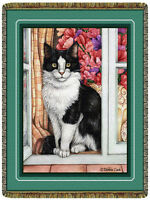 68x48 Black & White CAT Kitty in Window Floral Tapestry Afghan Throw Blanket