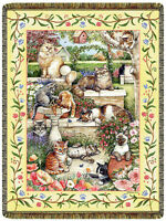 68x48 CATS Kitty in Garden Siamese Tabby Black Tapestry Afghan Throw Blanket