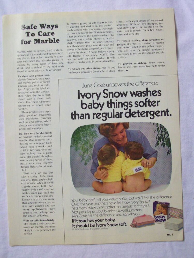 1979 Magazine Advertisement Page For Ivory Snow Laundry