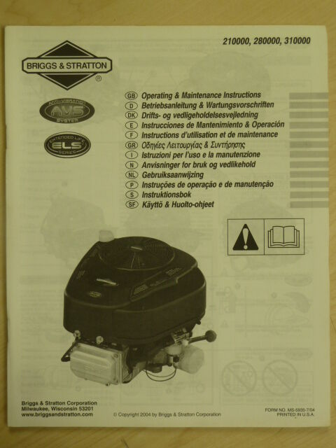 2004    BRIGGS         STRATTON    OPERATING MAINTENANCE INSTRUCTIONS