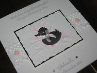 Personalised Handmade New Baby Girl/Baby Girl's Christening Card - luxury boxed