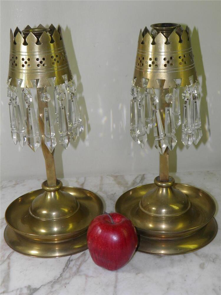 Antique pair brass candlesticks candle holders crystal for Candle holder crafts